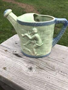 Vintage Ceramic Sprinkler Little Boy Blue Design Green & Blue Japan