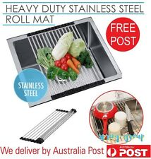 Roll Up Sink Drainer Mat Stainless Steel Kitchen Drying Rack Colander 47x24cm