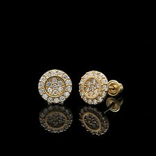 0.20CT Round Created Diamond Fancy Halo Earrings 14k Yellow Gold Studs Screwback