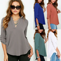 Women V Neck Chiffon Long Sleeve Casual Loose Shirts Blouse Top T-Shirt Ilovero