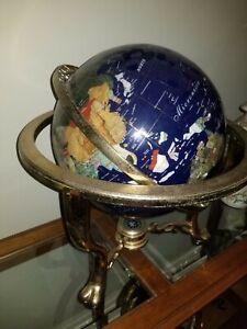"""Blue Lapis Gemstone World Globe - Semi Precious Stone Inlays w/ Compass - 18""""x18"""