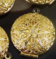 4 Gold Plated Filigree Hollow Locket Pendants Essential Oil Diffuser 27x32mm