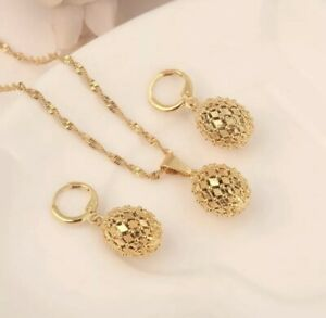 Arab Turkish Ethiopian Asian 18k Gold Plated Jewellery Set Ball Necklace Earring