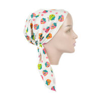 Kids Pretied Cancer Headscarf White Beanie with Strawberries Alopecia Head Cover