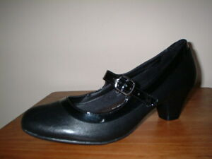 MARKS&SPENCER INSOLIA BLACK LEATHER & PATENT MARY JANE COURT SHOES 7/40.5 WIDER