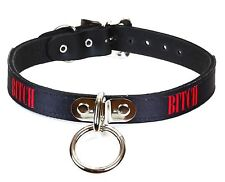 Bondage Collar Bitch Fetish Leather Collar Punk Gothic Rock Sexy Name Necklace