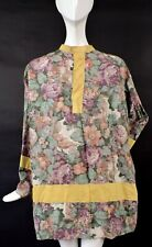 Antique 1920'S Floral Print Cotton Costume Tunic Dress W Rich Print