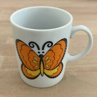 Vintage Retro Butterfly Small Coffee Mug Cup Harvest Orange Marked Red Japan