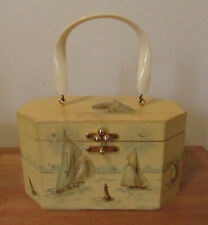 Vintage Retro ANNIE LAURIE Box Purse Case Bag 3D Boats Saks Fifth Avenue