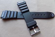 New Mens Timex Atlantis 19mm Black with Gray Logo Rubber Sport Watch Band Strap