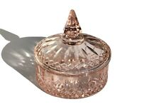 Vintage EAPG Pink Candy Box - Dish with Lid by Indiana Glass - Princess Design