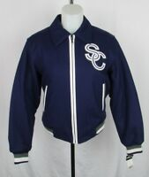 """Pelle Pelle """"Soda Club"""" Women's Wool and Leather Blue Bomber Zip Up Jacket (S)"""