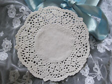 """6 pcs VTG 4.25"""" IN ROUND OFF WHITE IVORY leaf FLORAL LACE PAPER DOILIES"""