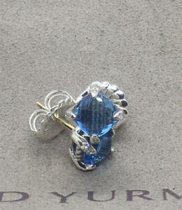 David Yurman 925 Silver 6mm Blue Topaz And Diamond Chatelaine Earrings