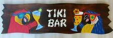"""TIKI BAR SIGN 39"""" WOOD CARVED HAWAIIAN DECOR TROPICAL BEACH ISLAND PATIO PARROT"""