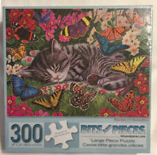 Bits and Pieces BLANKET OF BUTTERFLIES Kitty Cat 300 Pc Puzzle NEW Sealed