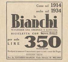 Z1007 Bicicletta BIANCHI con gomme Pirelli - Pubblicità d'epoca - 1934 Old ad
