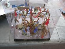 MULTI Gypsy Color 4 Lite Medium Chandelier-Multi colored stones with Beads-NIB