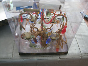 MULTI Gypsy Color 4 Lite Medium Chandelier-Multi colored stones with Beads-NIB