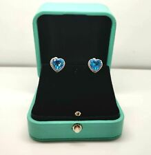 White gold finish blue topaz and created diamond heart earrings