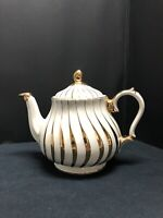 Vtg Sadler England 2737 Cream And Gold Swirl Teapot
