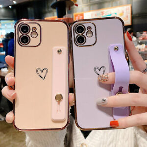 For iPhone 12 11 Pro Max XS XR 7 8 Bling Plating Heart Love TPU Case w/Wristband