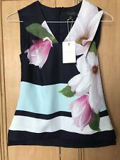 Brand New Ted Baker Magnolia Stripe Top Size 0 V Neck Sleeveless Floral RRP £99