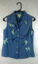 Tommy Bahama Blue And White SZ XS 100 % Silk Button Front Women's Shirt