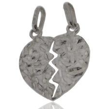 Ciondolo cuore divisibile mm 21x18 lavorazione martellata argento massiccio 925