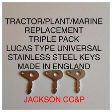 TRACTOR/PLANT/MARINE REPLACEMENT LUCAS TYPE UNIVERSAL STAINLESS STEEL KEY 3 PACK