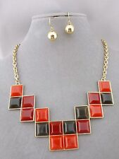 Gold With Brown Red Orange Squares Necklace Earrings Set Fashion NEW