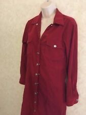 Women's Jane Ashley Soft MAROON Faux Suede Stretch Long Dress P SMALL BUTTON UP