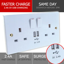 DRX 2-Gang 13A UK Switched Double Electric Wall Socket & 2.4A USB Charger Plug