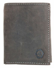 Natural strong hunter style vertical trifold genuine leather men's wallet HL