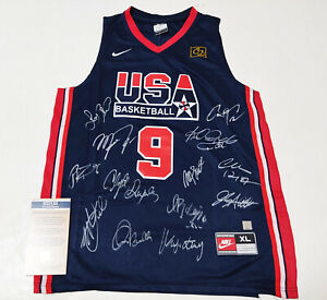 1992 U.S Team x13 Autographed No.9 Jersey + COA, M.Johnosn, Bird, Ewing, Etc..