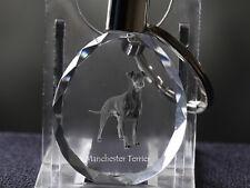 Manchester terrier, porte-clés rond, en cristal, qualité, Crystal Animals FR