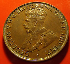 Well STRUCK! 1935 Australia One Penny, 6 PEARLS, Nice Strike with sharp details