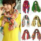Women's Colorful Cotton Linen Rural Style Flower Beautiful Long Silk Scarf Shawl