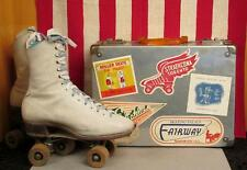 Vintage Hyde Chicago White Leather Rollerskates w/Case Rink Sticker Collection#1
