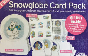 Cross Stitch Card Kit Snow Globe Christmas Cards, Envelopes, Stickers And Charts