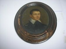 More details for old oil on copper - portrait of gentleman - miniature