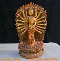 "12 ""Ancien Chine Bouddhisme Cuivre Rouge 18 Mains Maha Cundi Mère Bouddha Statue"