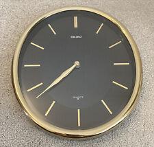 Seiko Quartz Gold And Black Wall Clock - Modern Oval Shape Made In Japan QA378K