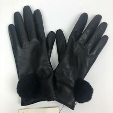 UGG Womens Gloves Leather Wool Cashmere POM  Black Size Small