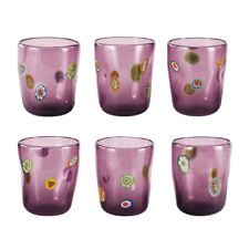 Murano Set 3pz Glasses Made by Hand Glass 10.1oz Use Everyday Gift Idea