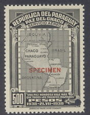 "Paraguay 1939, 500p, Chaco Map, ""SPECIMEN"" from Am. Banknote archives, NH"