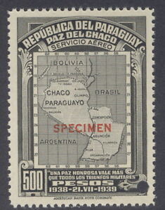 """Paraguay 1939, 500p, Chaco Map, """"SPECIMEN"""" from Am. Banknote archives, NH"""