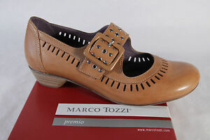 Marco Tozzi Ladies Slippers Ballerina Court Shoes Braun Leather Insole New