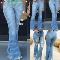 USA Women Striped Ripped Flare Denim Pants High Waist Bell Bottom Jeans Trousers