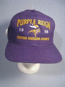 New 1998 Purple Reign Minnesota Vikings Central Division Champs Hat with Tags